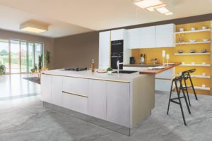 open concept shelving kitchen