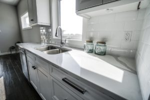 white marble kitchen in modular home