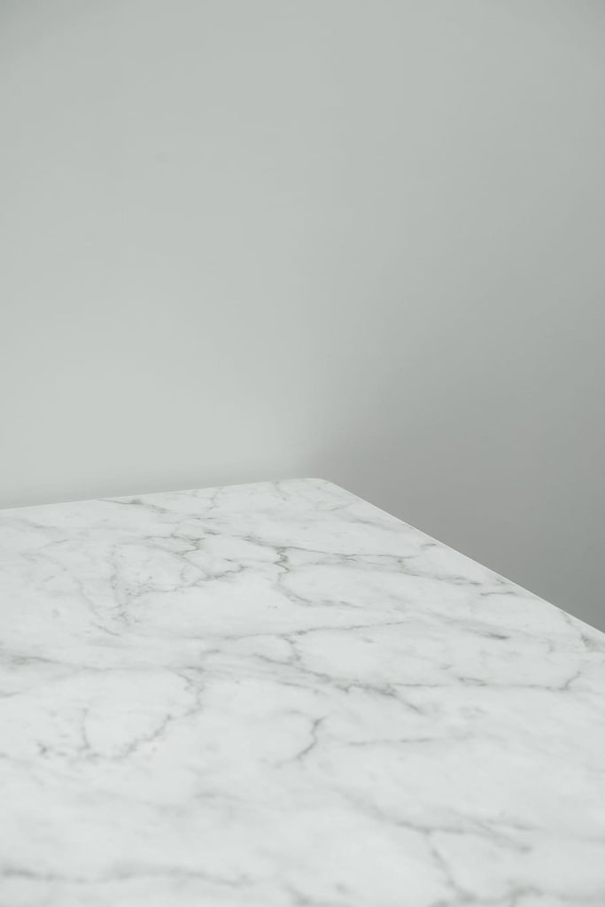 white marrble countertop in modular home