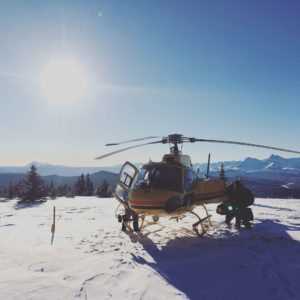 helicopter on a mountain top