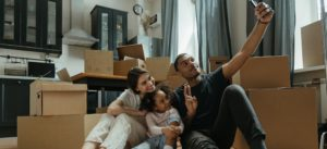 family in new modular home